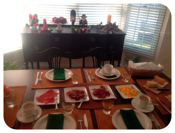 Our Christmas morning breakfast table with jamon iberico, prosciutto, eggs, bread and countless types of cheese. Rockstars, I tell ya!