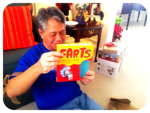 Dad played with his fart book for most of the day. He got an ipad, a keurig coffee maker and this. Guess what was his favorite.