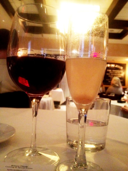House pinot noir and a pear bellini. Yes, at the same time. Don't judge.